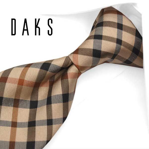 ダックス ネクタイ(7.5cm幅) DA73 【DAKS・ダックスネクタイ・ネクタイ ブランド】 ベージュ/ブラック【送料無料】