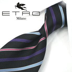 エトロ ネクタイ【ETRO】(8cm) ET4【エトロネクタイ・ネクタイ ブランド】ブラック/バイオレット【送料無料】