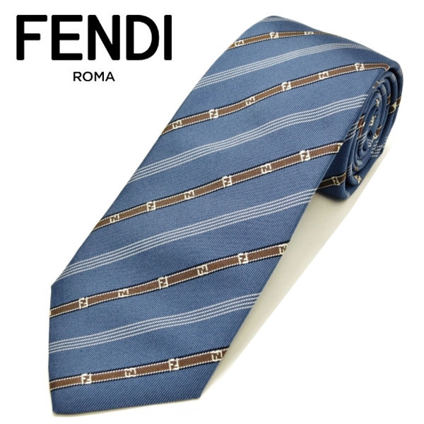 フェンディ ネクタイ(8cm) FFA16 【FENDI・フェンディネクタイ・ネクタイ ブランド】 ブルー/モカ【送料無料】