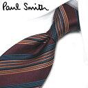 ポールスミス ネクタイ PS104ストライプ(FLU16-28) ボルドー/オレンジ 8cm幅【Paul Smith・ポールスミスネクタイ…