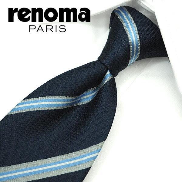 レノマ ネクタイ(8cm幅) RE39 【renoma・レノマネクタイ・ネクタイ ブランド】 ネイビー/グレー 【送料無料】