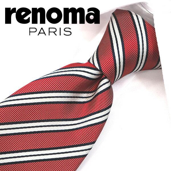 レノマ ネクタイ(8cm幅) RE6 【renoma・レノマネクタイ・ネクタイ ブランド】 レッド/ネイビー【送料無料】