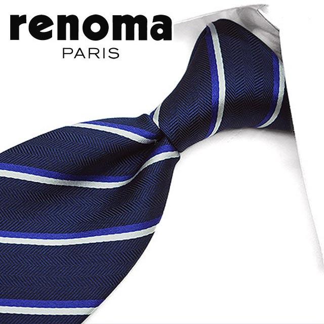 レノマ ネクタイ(8cm幅) RE8 【renoma・レノマネクタイ・ネクタイ ブランド】 ネイビー/バイオレット 【送料無料】