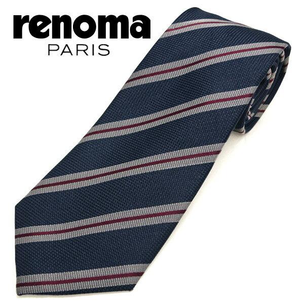 レノマ ネクタイ(8cm幅) RE85 【renoma・レノマネクタイ・ネクタイ ブランド】 ネイビー/グレー 【送料無料】