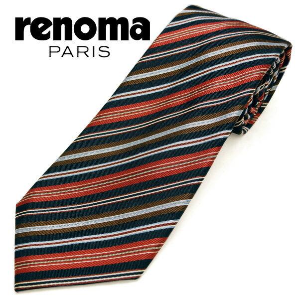 レノマ ネクタイ(8cm幅) RE88 【renoma・レノマネクタイ・ネクタイ ブランド】 ネイビー/レッド 【送料無料】