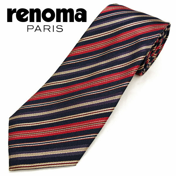 レノマ ネクタイ(8cm幅) RE89 【renoma・レノマネクタイ・ネクタイ ブランド】 ネイビー/レッド 【送料無料】