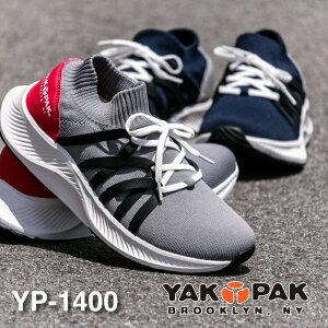 YAKPAK ヤックパックYP-1400ニットスニーカー メンズ ブランドレースアップ 紐フライニット 軽量 軽い 通気性 伸縮性 履きやすい おしゃれ クッション スニーカー