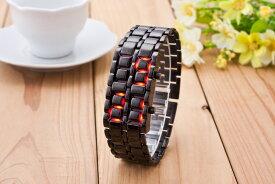 LEDブレスレット腕時計 2本+さらにもう1本 ブラック シルバー 防水機能 クオーツ式 LEDブレスレットウォッチ 近未来型 アクセサリー おしゃれ