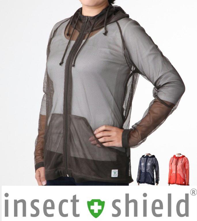 インセクトシールド 虫よけメッシュパーカー insect shield 着るだけで虫除け。男女兼用 グリーン ネイビー オレンジ ホワイト 虫除けウェア