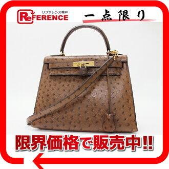 """Hermès """"Kelly 28"""" handbag out sew with shoulder strap ostrich brown gold bracket old I ever-s compatible."""""""