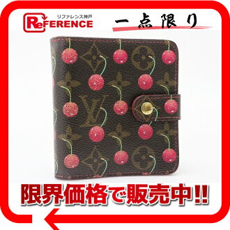 "Louis Vuitton Murakami Takashi Monogram cherry ""Compact zip"" two fold round map goods cloth M95005? s support.""fs3gm02P05Apr14M."