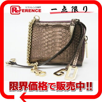DOLCE &GABBANA Dolce & Gabbana d & g Python with a chain round-fasenercoimcats bronze beauty products used