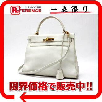 "Hermès ""Kelly 28"" handbags in the sewing shoulder-straps white gold metal old R engraved translation is ""dealing"" fs3gm"