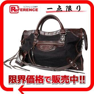 """BALENCIAGA 2007 Shoulder Bag """"The City"""" Textile Dark Brown and Black 115748"""
