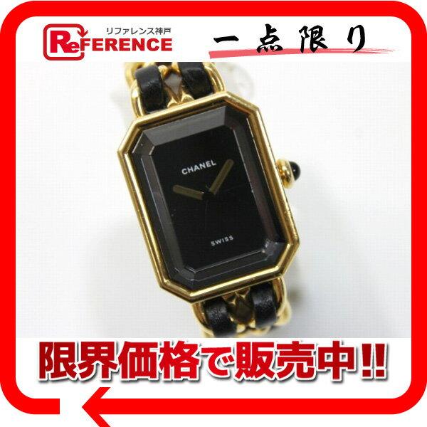 CHANEL シャネル プルミエール レディース腕時計 L ゴールド×ブラック クオーツ 【中古】