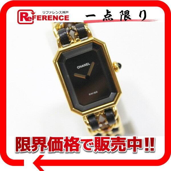 CHANEL シャネル プルミエール レディース腕時計 L ゴールド×ブラック 【中古】