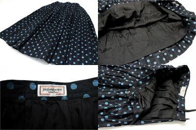 【YvesSaintLaurent】イヴサンローランドット柄ロングスカートMブラック×ブルー【KK】【中古】【楽ギフ_包装】《あす楽対応》