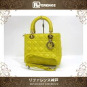 20f72790ec9a CHRISTIAN DIOR Lady Dior Lambskin Leather 2Way Hand Bag Yellow