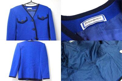 【YvesSaintLaurent】イヴサンローランノーカラージャケット&スカートセットアップブルー系【中古】【楽ギフ_包装】《あす楽対応》