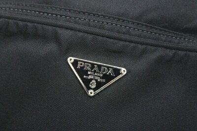 PRADAプラダナイロンロゴプレートポシェットショルダーバッグブラック中古