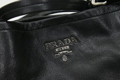 PRADAプラダソフトカーフレザートートバッグブラックBR3831美品【中古】KK