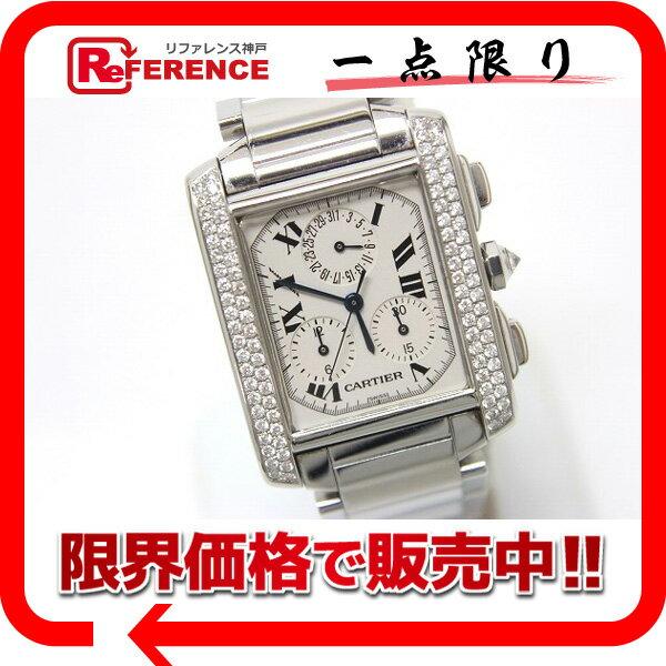 Cartier カルティエ タンクフランセーズLM クロノリフレックス メンズ腕時計 アフターダイヤベゼル SS クオーツ W51001Q3 ジャンク品 【中古】