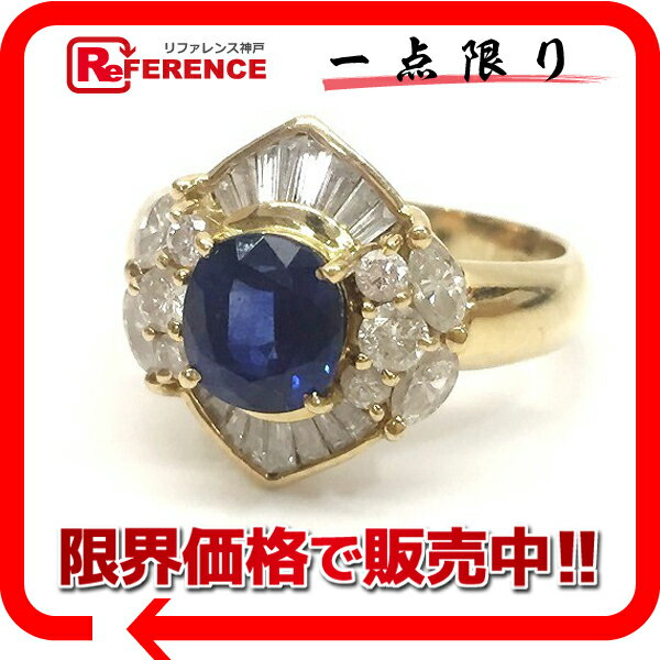 JEWELRY リサイクルジュエリー K18YG サファイア ダイヤ リング 指輪 12号 750 【中古】 KK
