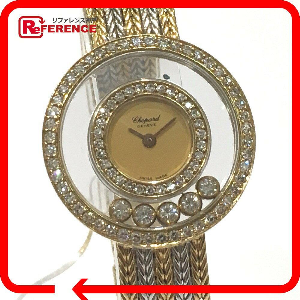 Chopard ショパール 4097 金無垢 二重ダイヤベゼル ハッピーダイヤモンド 5Pダイヤ 腕時計 K18YG/K18WG/ダイヤモンド レディース【中古】