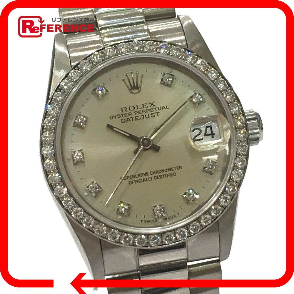ROLEX ロレックス 68289G ダイヤベゼル デイジャスト 10Pダイヤ L番 腕時計 K18WG/ダイヤモンド ホワイトゴールド ボーイズ メンズ【中古】