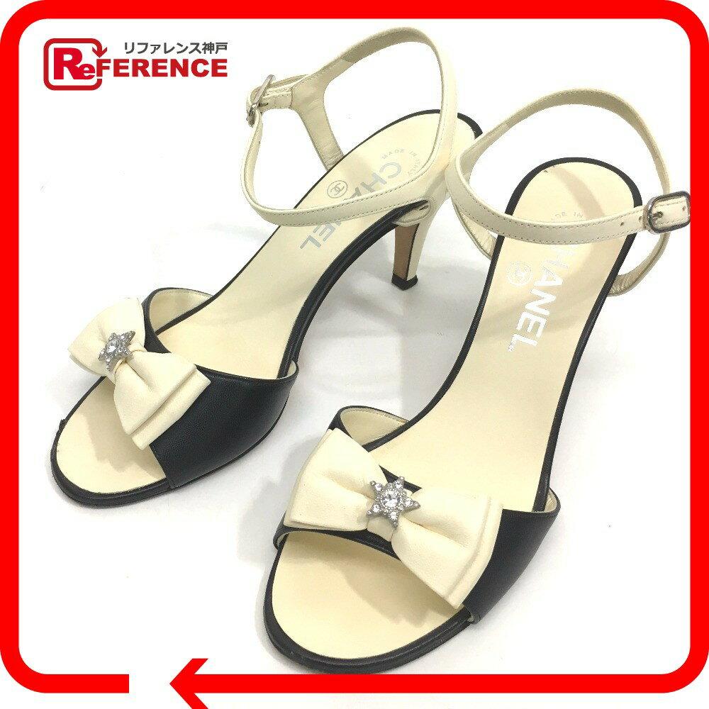 CHANEL シャネル G31051 バイカラー リボン ラインストーン 靴 15A サンダル ラムスキン ブラック×ホワイト レディース【中古】