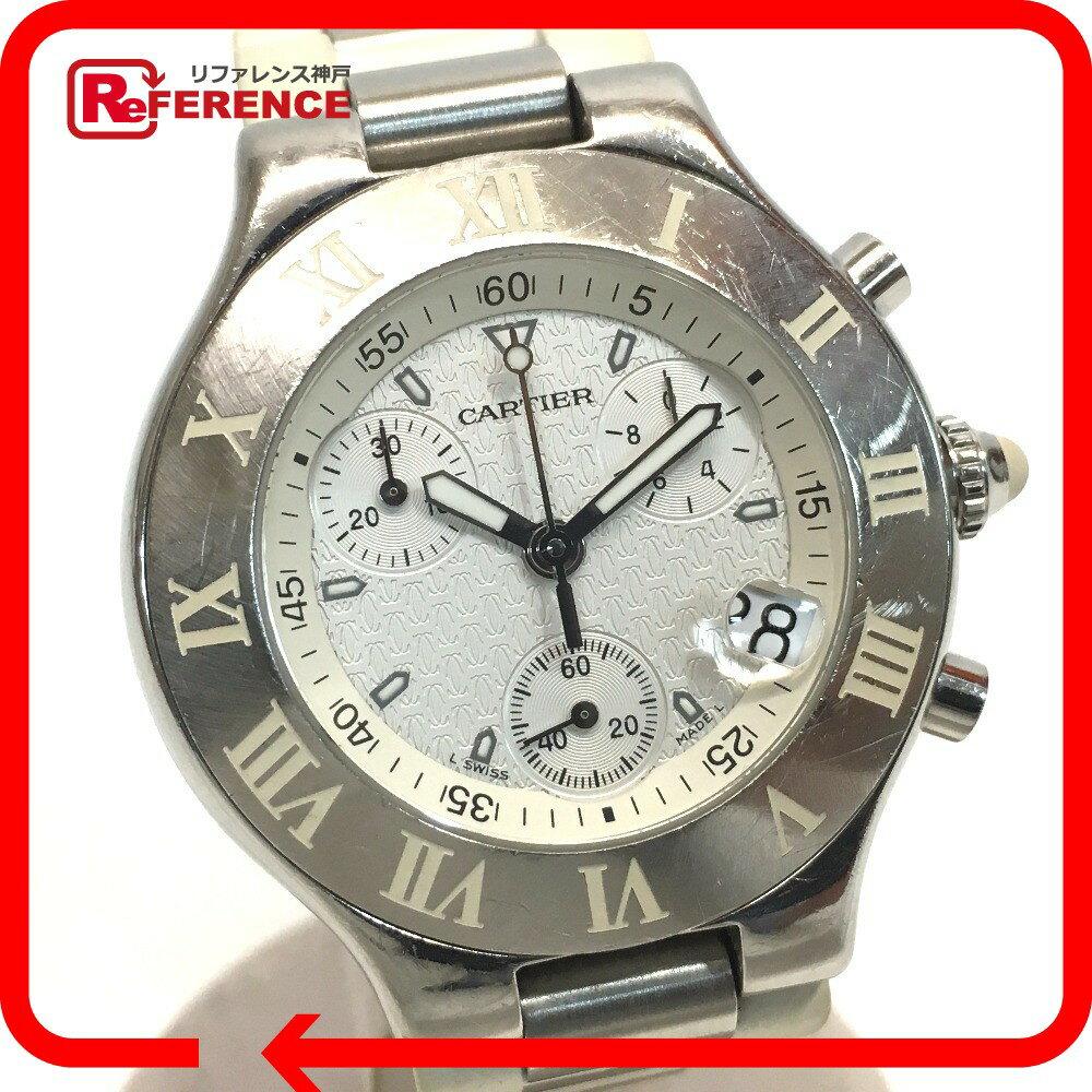 CARTIER カルティエ メンズ腕時計 マスト21 ヴァンテアン クロノスカフ 腕時計 SS/ラバー ホワイト メンズ【中古】