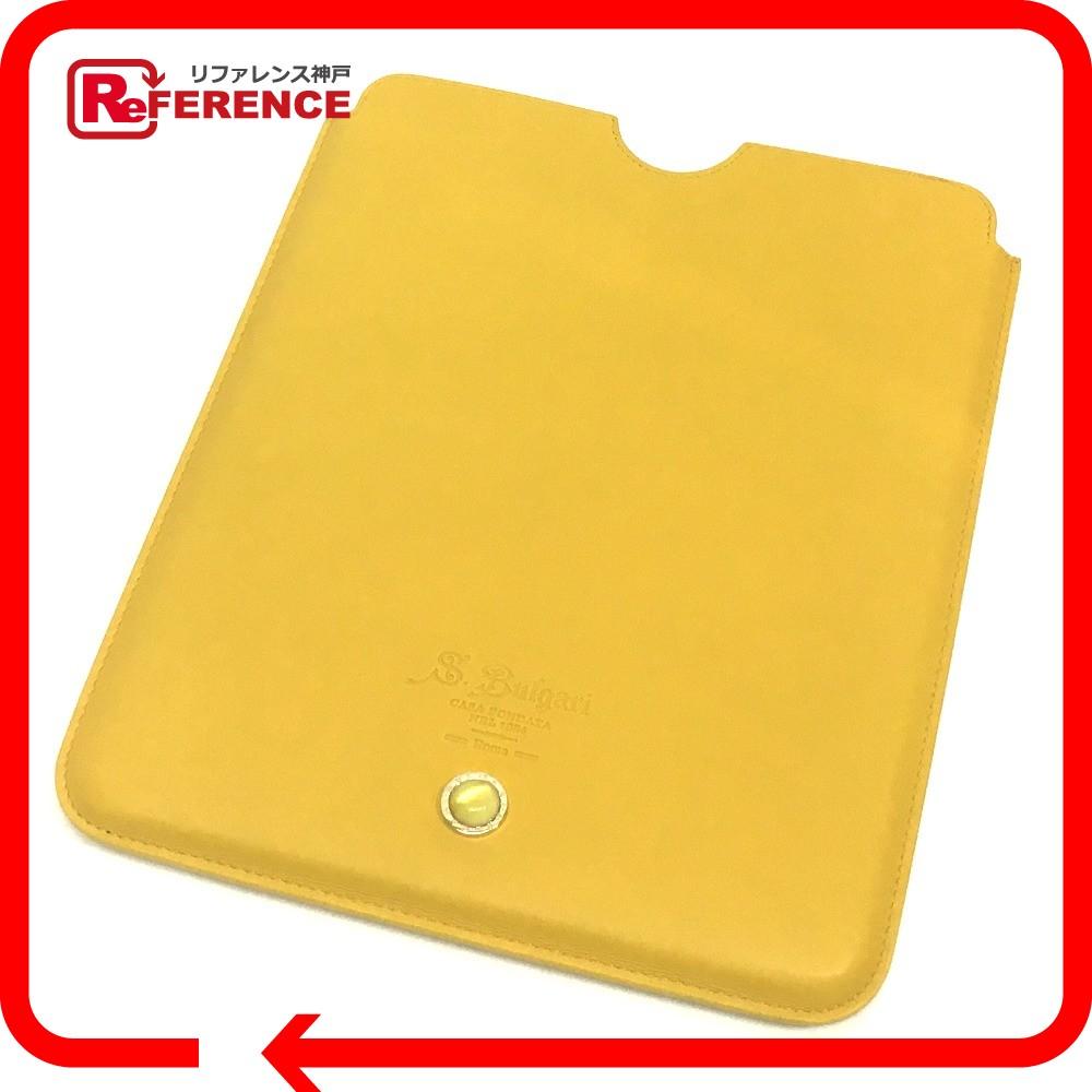 BVLGARI ブルガリ 34786 タブレットケース メンズ レディース iPadケース カーフレザー イエロー ユニセックス 未使用【中古】