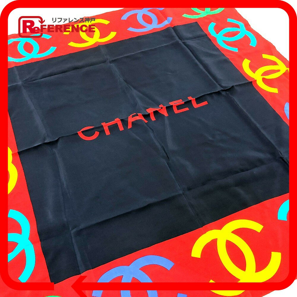 CHANEL シャネル CC スカーフ シルク ネイビー レディース【中古】