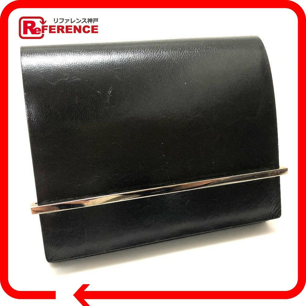 GUCCI グッチ 二つ折り財布(小銭入れあり) レザー/ ブラック レディース【中古】