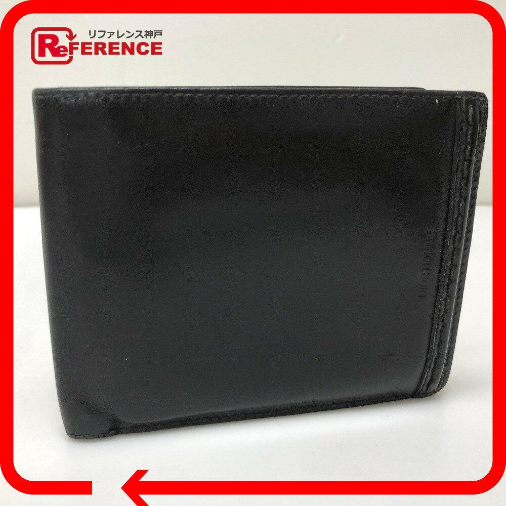DIOR HOMME ディオール・オム 二つ折り財布(小銭入れあり) レザー/ ブラック メンズ【中古】