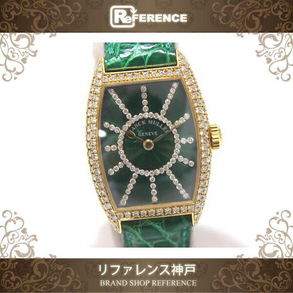 FRANCK MULLER フランクミュラー 1750S6PMCD レディース腕時計 文字盤ダイヤ トノウカーベックス ベゼル 腕時計 K18YG/クロコ革ベルト レディース【中古】