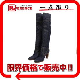 HERMES エルメス ロングブーツ シューズ 靴 ブーツ デニム ブルー レディース 新品同様【中古】