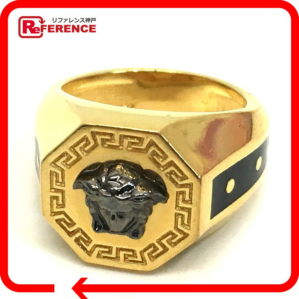 VERSACE ヴェルサーチ メンズリング 八角形 メデューサ リング・指輪 16号 ゴールド メンズ 新品同様【中古】
