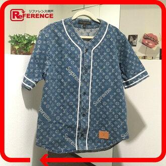 20c5e38b7b BRANDSHOP REFERENCE  AUTHENTIC LOUIS VUITTON Monogram Supreme x Louis  Vuitton Denim baseball shirt Short sleeve shirt blue 1A3F9U