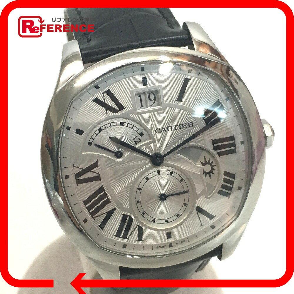 CARTIER カルティエ WSNM0005 メンズ腕時計 ドライブ ドゥ カルティエ レトログラード式 2タイムゾーン 腕時計 SS/クロコ革ベルト シルバー メンズ 新品同様【中古】