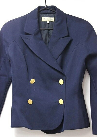 Christian Dior クリスチャンディオール スカートスーツ セットアップ/毛100% ネイビー レディース【中古】