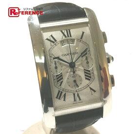 CARTIER カルティエ W2609456 メンズウォッチ 時計 タンクアメリカン クロノグラフ オートマチック デイデイト 腕時計 K18WG/クロコ革ベルト ホワイトゴールド メンズ【中古】