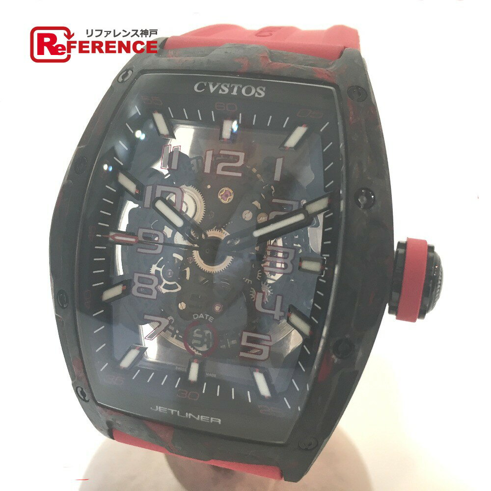 CVSTOS クストス CVT-JET2-SL-RED FGDC メンズ腕時計 チャレンジ ジェットライナー スケルトン 腕時計 カーボン/ラバーベルト ブラック メンズ 新品同様【中古】
