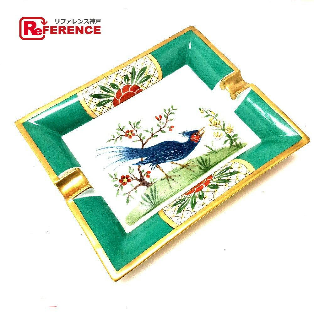 HERMES エルメス インテリア アッシュトレー 鳥柄 灰皿 ポーセリン/ グリーン系 レディース【中古】
