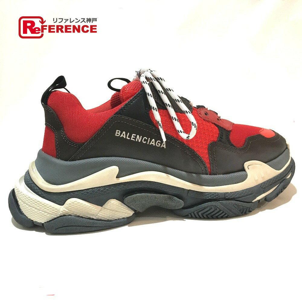 BALENCIAGA バレンシアガ 516440 トリプルS トレーナー 2018ss Triple S shoes ユースド加工 メンズシューズ 靴 スニーカー ルージュ/ノアール メンズ 未使用【中古】