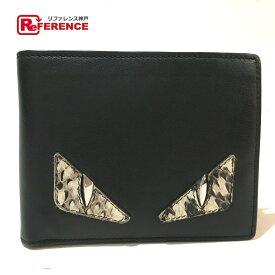 FENDI フェンディ 7M0001    メンズ レディース モンスター バッグ・バグズ 財布 二つ折り財布(小銭入れあり) レザー ブラック ユニセックス【中古】