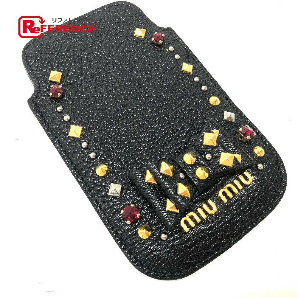 MIUMIU ミュウミュウ 5ARE42 ※iPhone4/4S 対応 メンズ レディース リボンモチーフ ビジュースタッズ iPhoneケース レザー/ ブラック レディース 新品同様【中古】