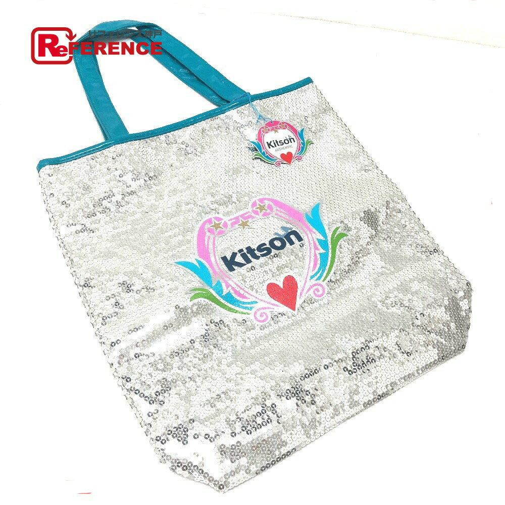 kitson キットソン トートバッグ ロゴ ショルダーバッグ スパンコール/パテントレザー シルバー レディース 未使用【中古】