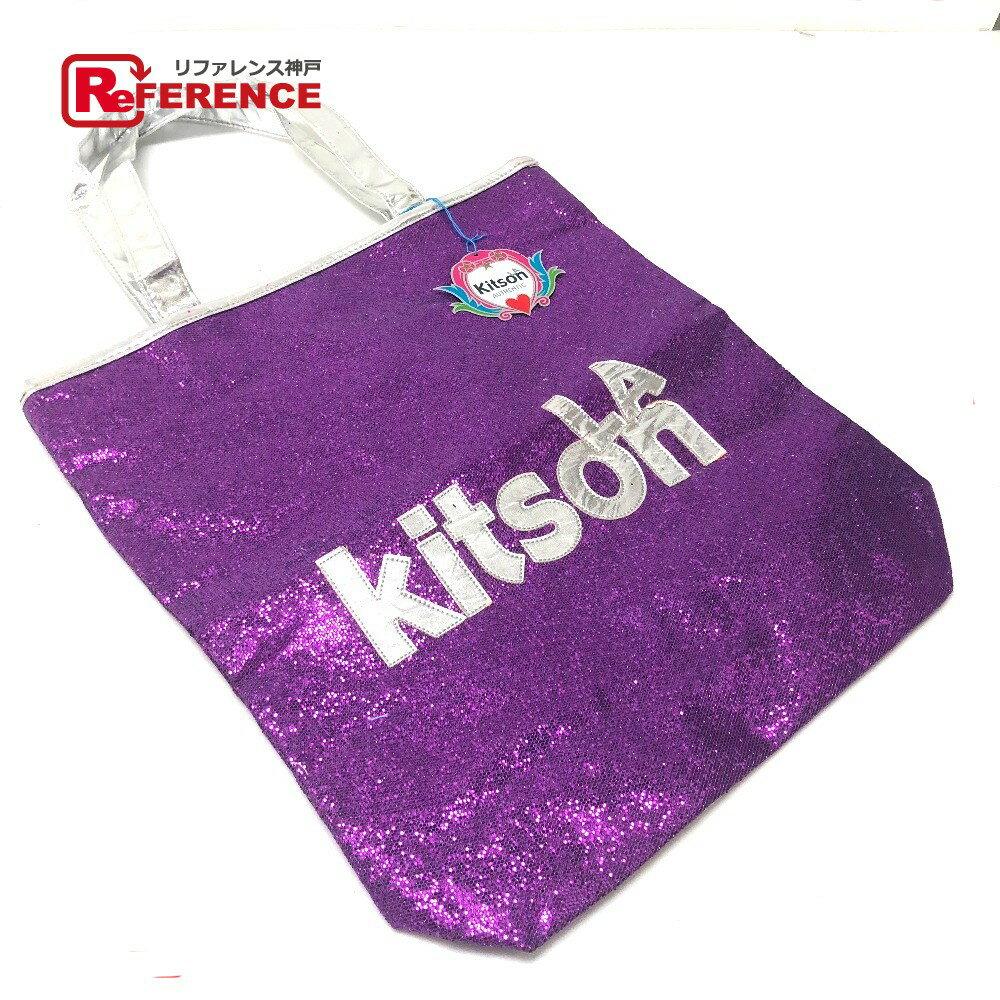 kitson キットソン トートバッグ ロゴ ショルダーバッグ スパンコール/パテントレザー パープル レディース【中古】