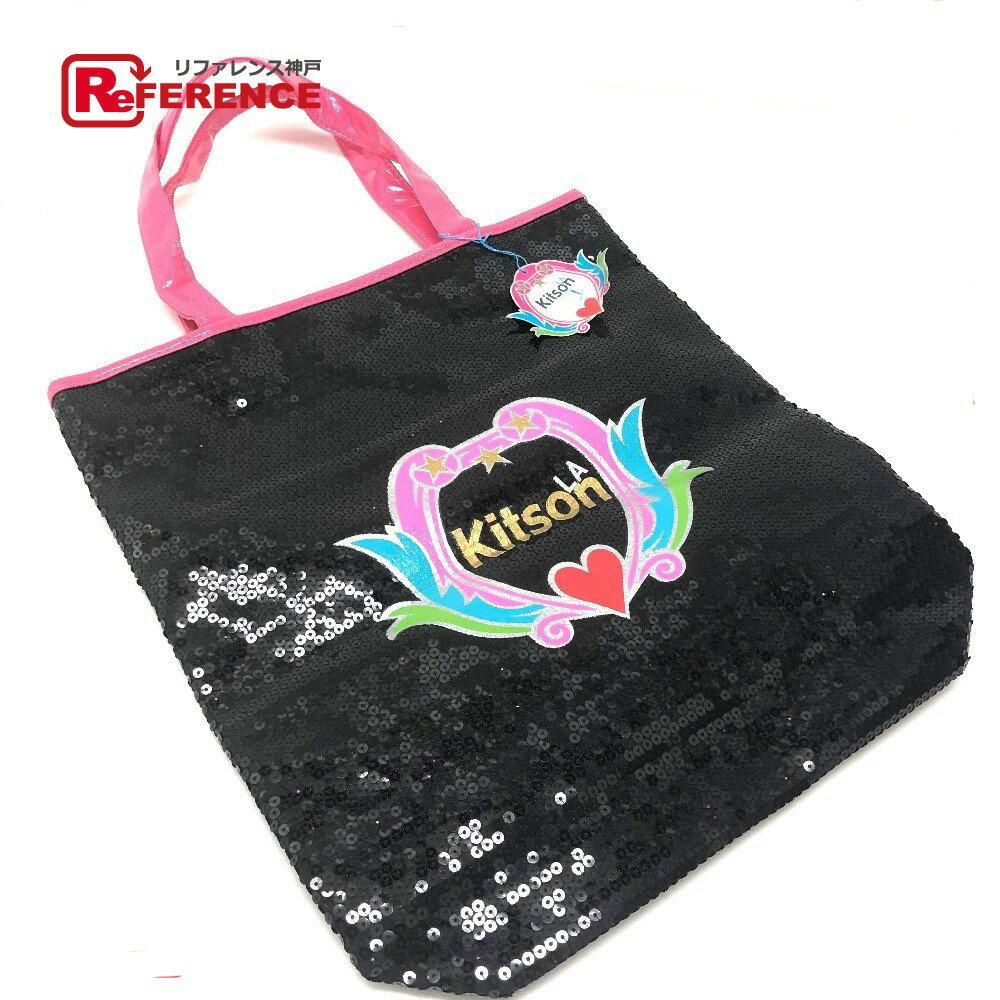 kitson キットソン トートバッグ ロゴ ショルダーバッグ スパンコール/パテントレザー ブラック 未使用【中古】